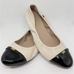 Cole Haan Ivory Black Patent Cap Toe Ballet Flat 9